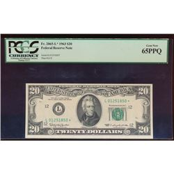 1963 $20 San Francisco Federal Reserve Star Note PCGS 65PPQ