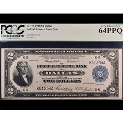 1918 $2 Dallas Federal Reserve Bank Note PMG 64PPQ