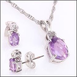 Plated Rhodium 1.90ctw Amethyst Pendant with Chain and Earrings