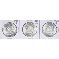 Lot of 1900-O, 1901-O, & 1902-O $1 Morgan Silver Dollar Coins