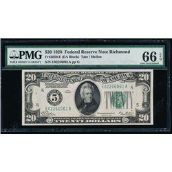 1928 $20 Richmond Federal Reserve Note PMG 66EPQ