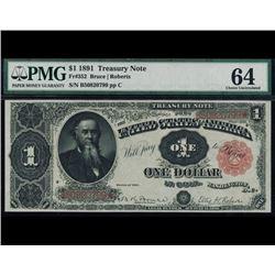 1891 $1 Treasury Note PMG 64