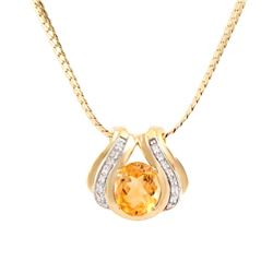 Plated 18KT Yellow Gold 4.05ct Citrine and Diamond Pendant with Chain