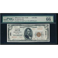 1929 $5 Millerton National Bank Note PMG 66EPQ