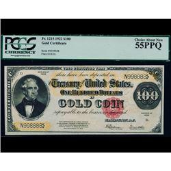 1922 $100 Gold Certificate PCGS 55PPQ
