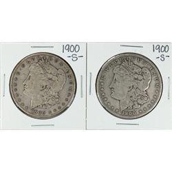 Lot of (2) 1900-S $1 Morgan Silver Dollar Coins