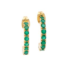 Plated 18KT Yellow Gold 1.20ctw Green Agate and Diamond Earrings