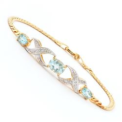 Plated 18KT Yellow Gold 2.30ctw Blue Topaz and Diamond Bracelet