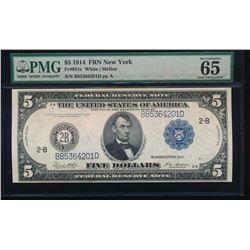 1914 $5 New York Federal Reserve Note PMG 65EPQ