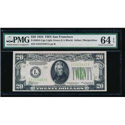 1934 $20 San Francisco Federal Reserve Note PMG 64EPQ