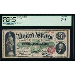 1863 $5 Legal Tender Note PCGS 30