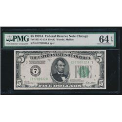 1928A $5 Chicago Federal Reserve Note PMG 64EPQ