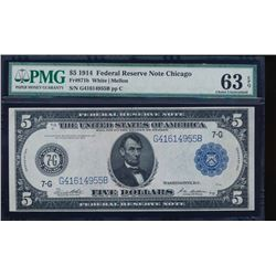 1914 $5 Chicago Federal Reserve Note PMG 63EPQ