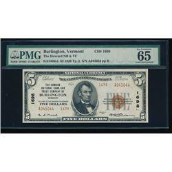 1929 $5 Burlington National Bank Note PMG 65EPQ