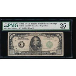 1934A $1000 Chicago Federal Reserve Note PMG 25