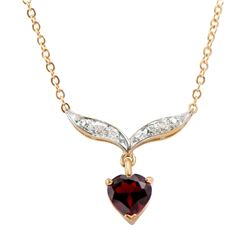 Plated 18KT Yellow Gold 1.30ct Garnet and Diamond Pendant with Chain