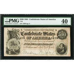1864 $500 Confederate Sates of America Note PMG 40