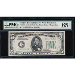 1934 $5 Richmond Federal Reserve Note PMG 65EPQ