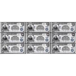 Lot of (9) Consecutive 1902PB $10 Tiffin, Ohio CH# 7795 National Currency Notes