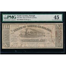1862 $10 Raleigh NC Obsolete Note PMG 45