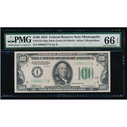1934 $100 Minneapolis Federal Reserve Note PMG 66EPQ