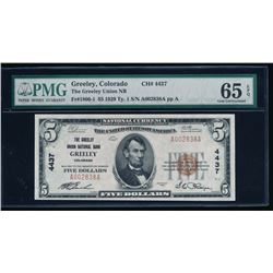 1929 $5 Greenley National Bank Note PMG 65EPQ