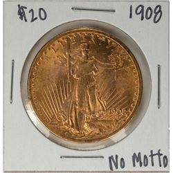 1908 No Motto $20 St. Gaudens Double Eagle Gold Coin