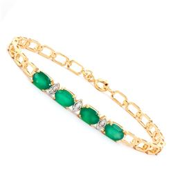 Plated 18KT Yellow Gold 3.00ctw Green Agate and Diamond Bracelet