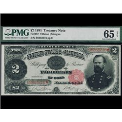 1891 $2 Treasury Note PMG 65EPQ