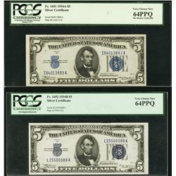 1934A and 1934B $5 Silver Certificates PCGS 64PPQ