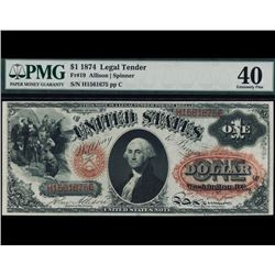 1874 $1 Legal Tender Note PMG 40