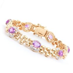 Plated 18KT Yellow Gold 7.50ctw Amethyst and Diamond Bracelet