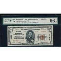 1929 $5 Shelburne Falls National Bank Note PMG 66EPQ