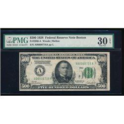 1928 $500 Boston Federal Reserve Note PMG 30EPQ
