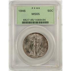 1946 Walking Liberty Half Dollar Coin PCGS MS65 Old Green Holder