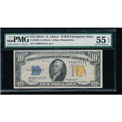 1934A $10 North Africa Silver Certificate PMG 55EPQ