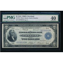 1918 $2 Cleveland Federal Reserve Bank Note PMG 40