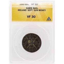 1689 Ireland Sept Gun Money Shilling Coin ANACS VF30