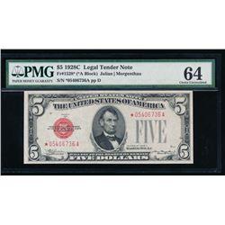 1928C $5 Legal Tender STAR Note PMG64