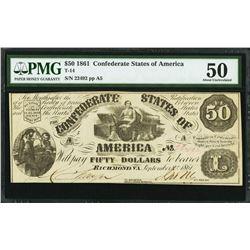 1861 $50 Confederate States of America Note PMG 50
