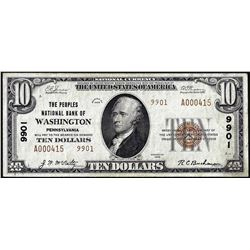 1929 $10 Peoples NB of Washington, Pennsylvania CH# 9901 National Currency Note