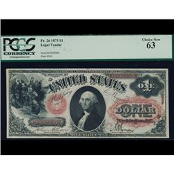 1875 $1 Legal Tender Note PCGS 63