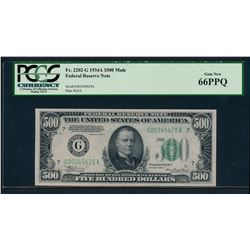 1934A $500 Chicago Federal Reserve Note PCGS 66PPQ