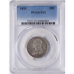 1833 Capped Bust Quarter Coin PCGS F12
