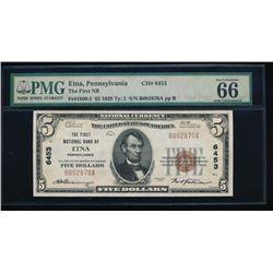 1929 $5 Pennsylvania National Bank Note PMG 66EPQ
