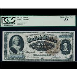 1886 $1 Martha Washington Silver Certificate PCGS 58