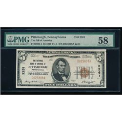 1929 $5 Pittsburgh National Bank Note PMG 58