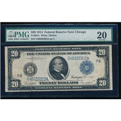 1914 $20 Chicago Federal Reserve Note PMG 20