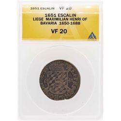 1651 Liege Maximilian Henri Of Bavaria Escalin Coin ANACS VF20
