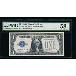 1928D $1 Silver Certificate PMG 58